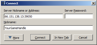 This is what the TeamSpeak connect fields should look like